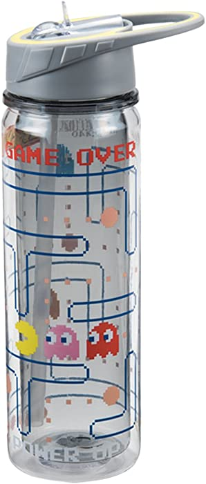 Vandor 69075 PAC-MAN 18 Ounce Tritan Water Bottle, Multicolored