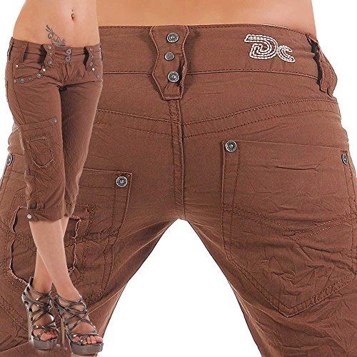 Angy Braun Damen Designer Cargo Shorts Capri Bermuda kurze Stoffhose Jeanshose Reißverschluss Cargo