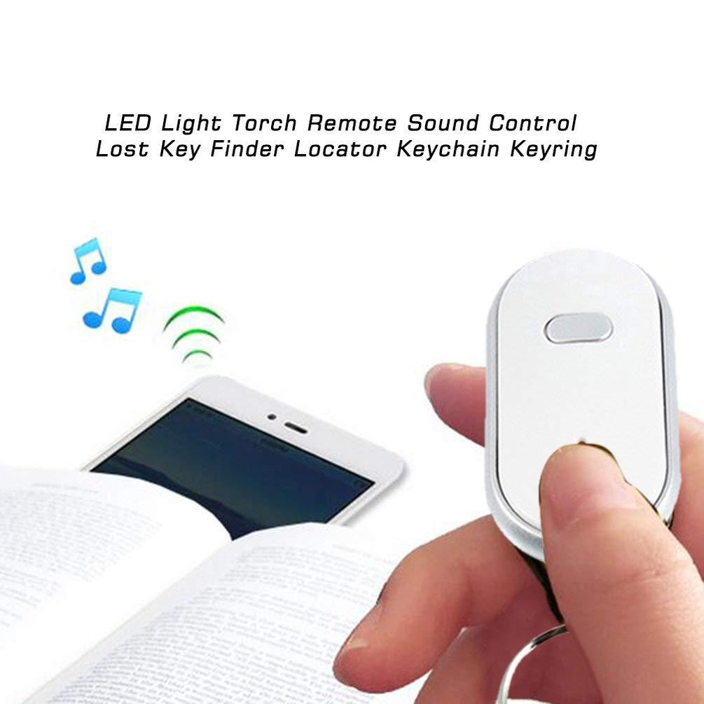 Silbato LED Antorcha de luz Control de Sonido Remoto Buscador de Llaves perdidas Localizador de Llavero Remoto Llavero Llavero con Silbato Claps-Blanco-1 Tama/ño