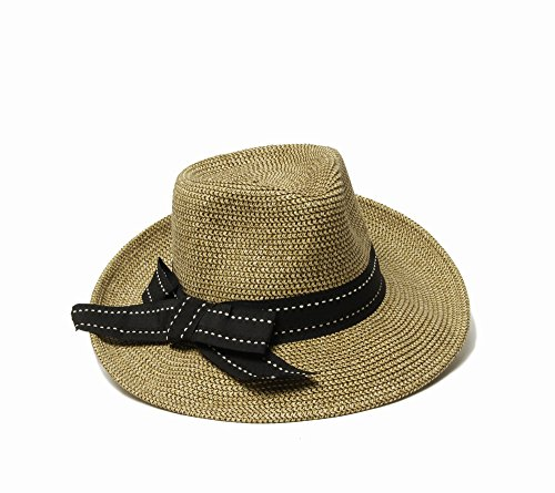 - Physician Endorsed Women'sRich Pitch Fedora Packable Sun Hat With Ribbon Rated UPF 50+, Black Tweed, One Size