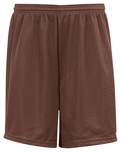 Badger Big Boys' Elastic Waist Solid Tricot Liner Mesh Shorts, L, Dark Brown ()