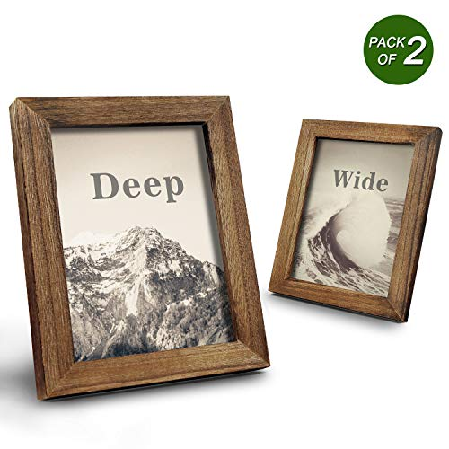 Emfogo Picture Frames 5x7 Solid Wood Photo Frames and High Definition Glass Display Pictures for Table Top Display and Wall Mount ()