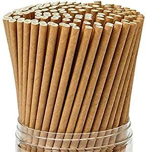 300 Pack Dye-Free, Kraft Paper, Biodegradable Eco-Friendly Paper Straws