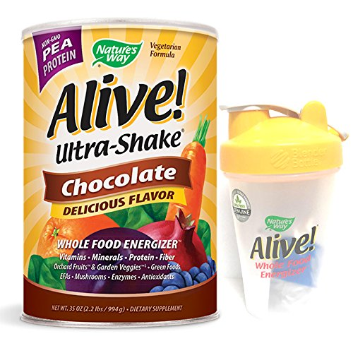 Natures Way - Alive! Ultra Shake Pea Protein Chocolate 2.2Lb & Shaker Bundle - 1ct - Alive Multivitamin Ultra Shake