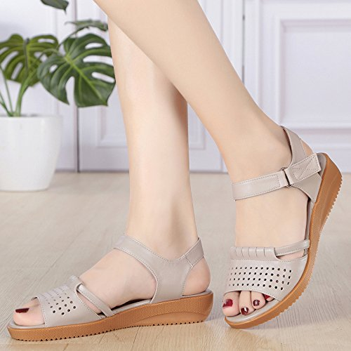 Aged Slope Bottomed Women'S Tendon Sandals Flat Soft And Skid Proof Heel Shoes Bottom Beef Old Beige KPHY Summer Bottom Mom Heel Flat Middle Sandals n1IxxqUw0