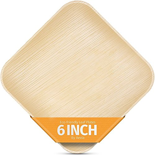 """6"""" Square Palm Leaf Plates. 25 Pack. Compostable, Biodegradable and Eco-Friendly. Sturdy alternative to Disposable Bamboo Plates. By Aevia."""