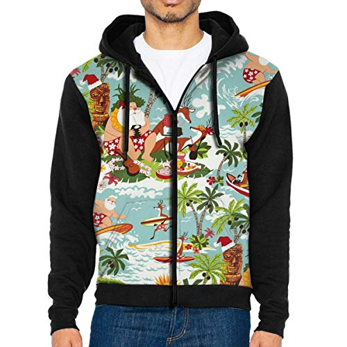 HEHE TAN Mens Pullover Hood Christmas Time Surfin' Santa Zip Hoodies Hooded Cool Jackets Coats