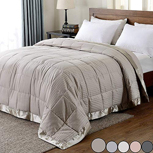 downluxe Lightweight King Down Alternative Blanket with Satin Trim, Sand