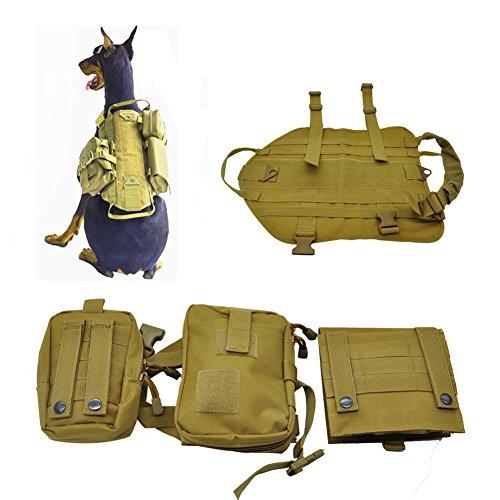 Agywell Large Dog Backpack for Hiking Removable Adjustable Tactical Saddlebag Training Travel Camping Backpack Rucksack For Medium & Large Dog Dog Saddlebag