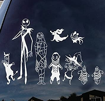 Focenterprises nightmare before christmas jack skellington and sally family halloween vinyl decal sticker for macbook