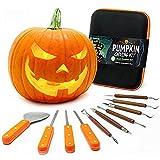 Joyousa Pumpkin Carving Tools Kit - 10 Piece Heavy Duty Stainless Steel Jack-O-Lantern Halloween Sculpting Set