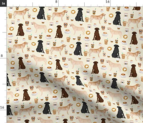 Spoonflower Labrador Fabric - Coffee Fabric Off-White Cream Lab Dog Yellow Chocolate Black Dogs Labradors Print on Fabric by The Yard - Petal Signature Cotton for Sewing Quilting Apparel Crafts Decor