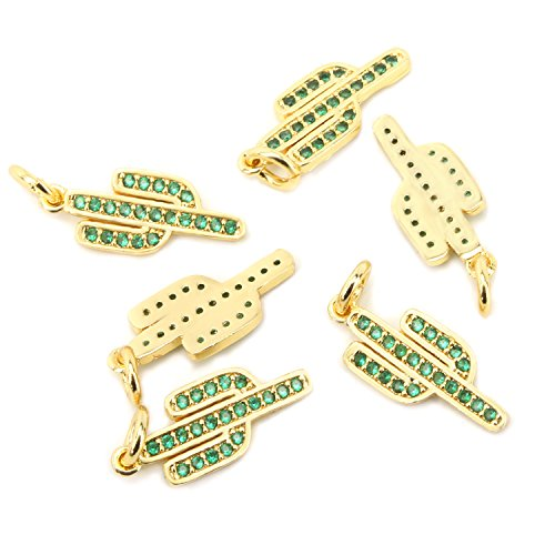 Wholesale 6 PCS Cactus Charm Pendant with Natural Zircon Rhinestone Inlaid Bulk for Jewelry Making