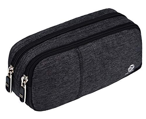 School Box Womens (Pencil Case Large Capacity Pencil Bag Pouch with  Durable Double Zipper by Only Warm for School office  Heather Grey)