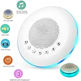 White Noise Sound Machine for Sleeping, 20 Non-Looping Soothing Sounds Lullaby Colorful Night Light Timing Baby Therapy Sound Machine, Auto-Off Timer Battery or USB Output Charger (White)