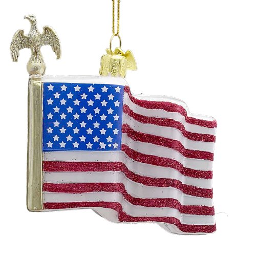 American Flag Christmas Ornament - Kurt Adler 3-1/2-Inch Noble Gems Glass American Flag Ornament
