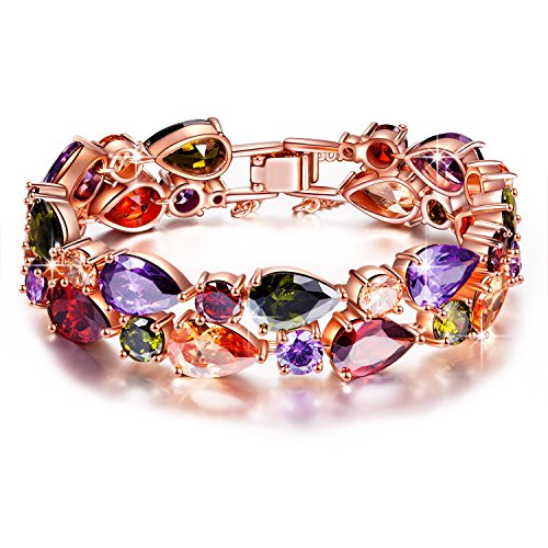 Crystal Swarovski Multi Ring Color - QIANSE Bracelets for Women Mona Lisa Rose Gold Plated Bracelet Multicolor Cubic Zirconia CZ Bracelets for Women Bracelet Jewelry for Women Birthday for Mom Grandma Wife Girlfriend