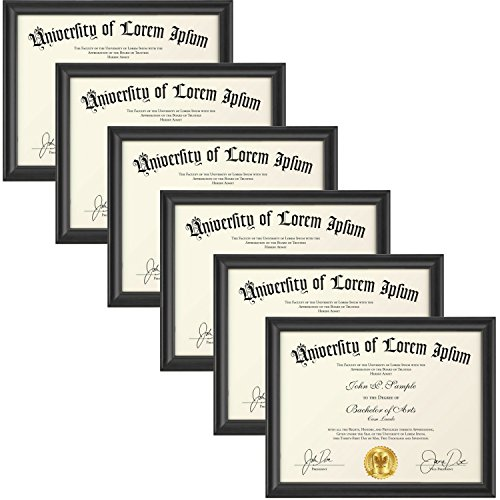 Glass Beaded Veneer (Icona Bay 8.5 by 11 Document Frames 6 Pack (8.5x11, Matte Black) Wood Picture Frames, Wall Hanging or Table Top, for Diplomas Photos Certificates, Landscape as 11x8.5 or Portrait, Lakeland Collection)