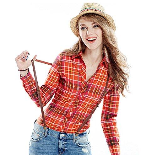 YueLian Mujeres Otoño Estilo Coreano Casual Algodón Manga Larga Blusa Camisera Camisa a Cuadros Top Color06