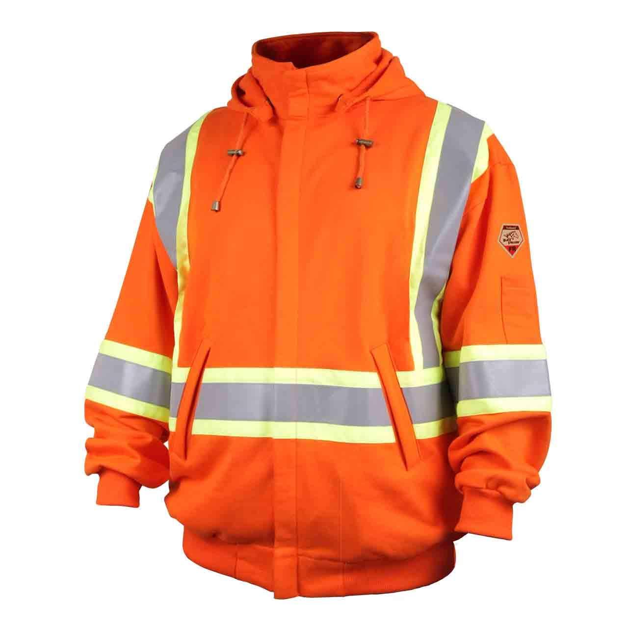 Revco/Black Stallion TruGuardTM 200 FR Cotton Hooded (Safety Orange) Sweatshirt, Reflectives LG JF1332-OR-LG