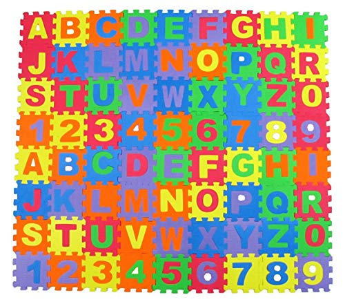 Alphabet Letters and Numbers Foam Puzzle Square Floor Mat, 6x6-Inches, -