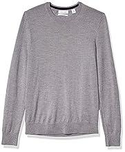 Calvin Klein Mens Merino Sweater Crew Neck, Medium Grey Heather 2019, X-Large