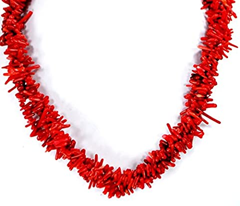 003 Ny6Design Multi Strands Red Sea Coral Chip Beads Necklace w Silver Plated Clasp 19