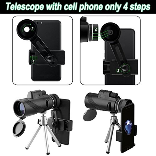 AutumnFall Phone Telescop,40x60 High Power Lens BAK4 Monocular Telescope with Fast Smartphone Stand (Black) by AutumnFall_Telescope (Image #5)