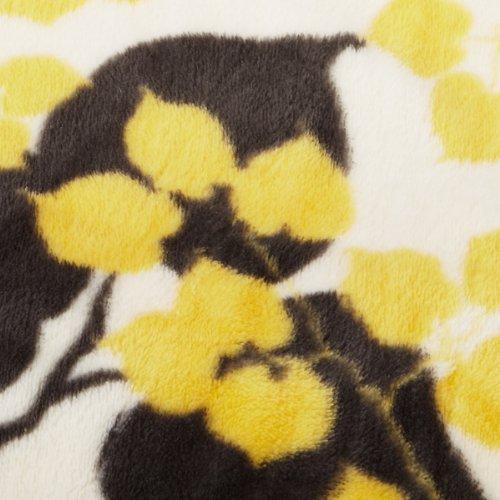 Northpoint Seville Printed Velvet Plush Throw, Yellow Vines