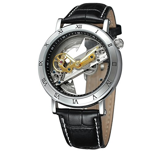 FORSINING Men's Unique Design Luxury Automatic Movt Popular Style Genuine Leather Strap Skeleton Watch