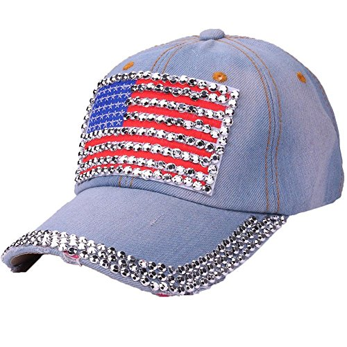 MaxFox Women American Flag Rhinestone Jeans Denim Adjustable Bling Baseball Studded Rivet Cotton Hat Cap for Outdoor Sports (B)