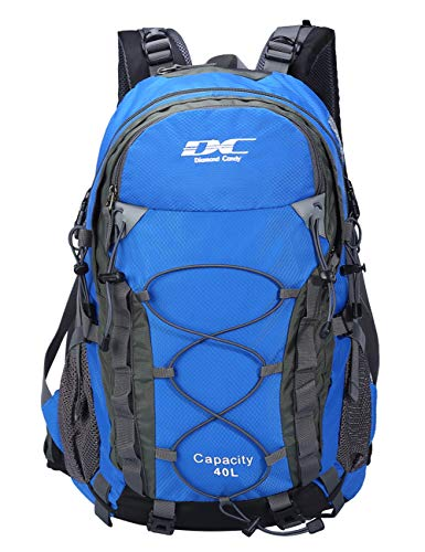 Diamond Candy Waterproof Hiking Backpack 40L with Rain Cover for Outdoor Darkblue (Diamond Womens Sleeping Bag)