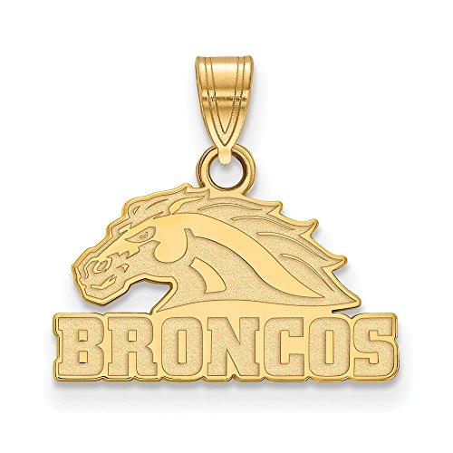 (14k Yellow Gold Western Michigan University Broncos Mascot Head Pendant S - (13 mm x 15)