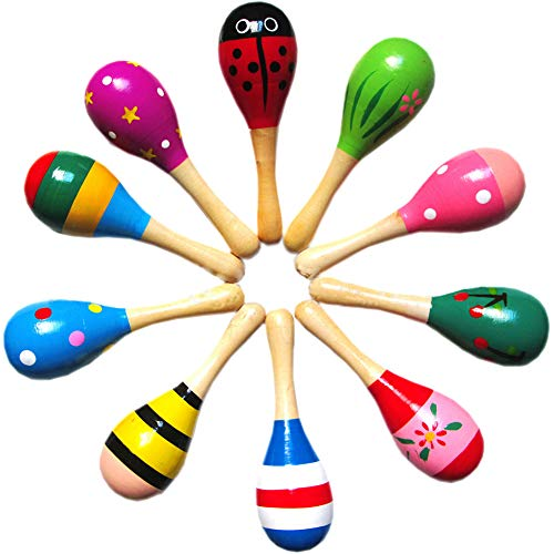 10 Pcs Sand Hammer, Wooden Hand Shake Toy for Infant Kids Early Childhood Education, Maracas for Party Favors Musical Instruments, Noisemaker for Birthday, New Years Supplies, Random Color