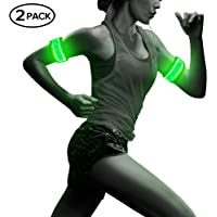 BSEEN 1 Pack for 2 PCS LED Armband, Running armabnd, led Bracelet Glow in The Dark-Safety Running Gear.Use