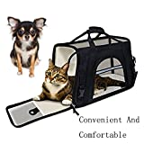 Carrier For Puppy Cats Kitten Dog Airline Approved | Side Loading Travel Bag With Sturdy Bottom & Fleece Cushion | Ventilated Pouch With Top Handle - Shoulder Strap & Zipper Locks (black)