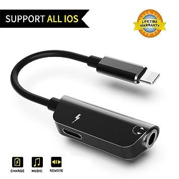 Adaptador de Auriculares para iPhone 8 Adaptador de Cargador de Cables Auxiliares, Conector Jack de 3,5 mm, Convertidor de Auriculares Aux Audio Car ...