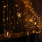 Quace Christmas Butterfly Curtain String 8 Modes, 96 LEDs Lights (Yellow, 3.5 m)