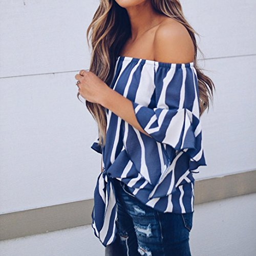 T New Neck Blouse Blue a Ladies Casual V Floral 2018 Store Loose Mikey Tops Shirt YqEPw