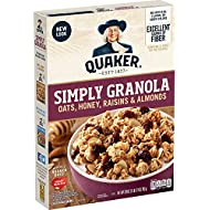 Quaker Simply Granola, Oats, Honey, Raisins and Almonds, 28 oz Boxes, (2 Pack)