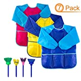 3pack Kids Art Apron with Roomy Pockets Colored Painting Smocks with 4 Sponge Painting Brushes for Age 2-6