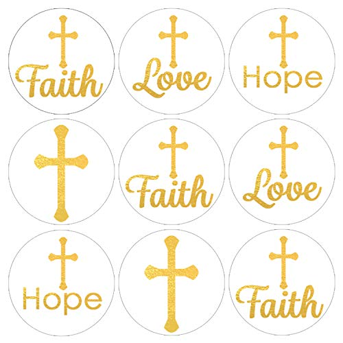 Baptism, Christening, First Communion Party Favor Decorations | Gold Cross | 216 Stickers