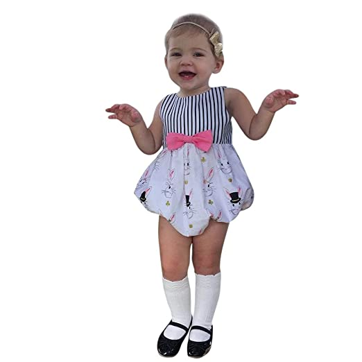 81cd5c5f401 Amazon.com  Vicbovo Newborn Baby Girls Easter Outfits Adorable Bunny  Striped Sleeveless Romper Button Jumpsuit Summer Bodysuit Clothes  Clothing