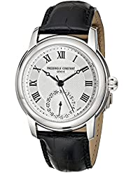 Frederique Constant Maxime Mens 710MC4H6 Stainless Steel Watch with Seconds Hand and Black Leather Band