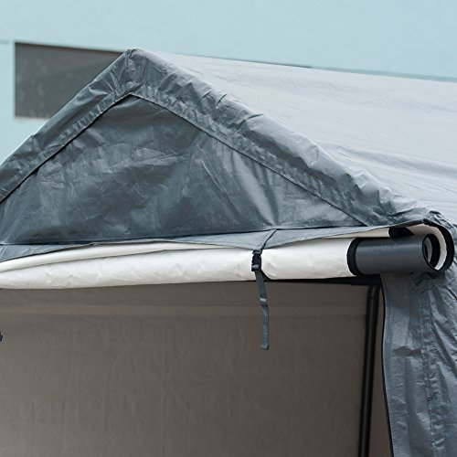 Abba Patio Storage Shelter 8 x 14- Feet Outdoor Carport Shed Heavy Duty Car Canopy, Grey