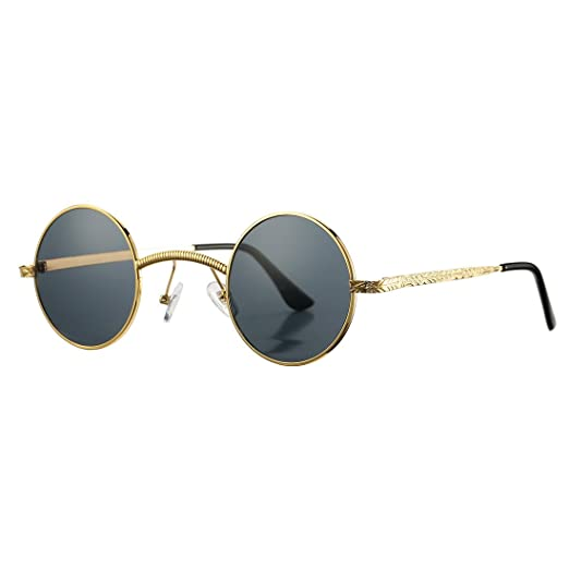0c2cebe842 COASION Retro Round Circle Steampunk Gothic Sunglasses for Men Women Metal  Frame (Gold Frame