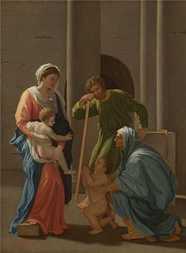 Oil Painting 'After Nicolas Poussin The Holy Family With Saints Elizabeth And John ' Printing On Perfect Effect Canvas , 16 X 22 Inch / 41 X 55 Cm ,the (This Is Halloween Piano Tabs)