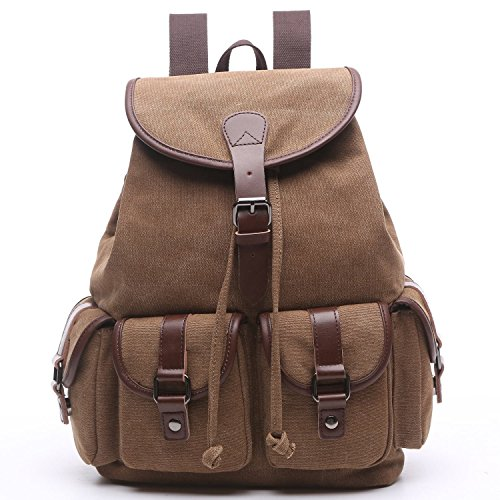- Women Canvas Backpack Purse Vintage Travel Rucksack for Teenager Girls College School Cute Slim Laptop Backpack(Coffe)