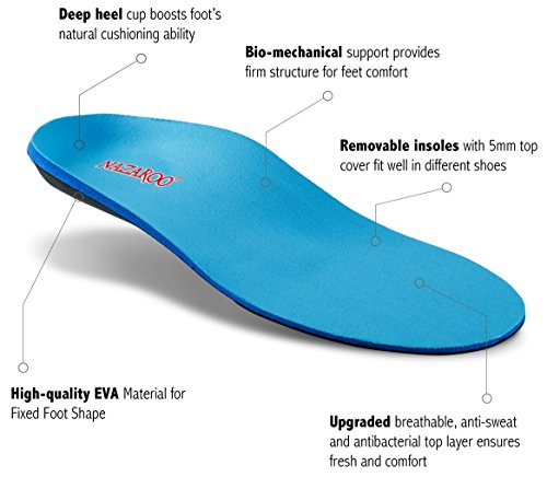 Orthotic Shoe Insoles for Flat Feet by NAZAROO, Shoe Inserts for Plantar Fasciitis, Relieve Feet Pain, Heel Pain and Pronation for Men and Women (US Mens 8-8.5 | Womens 10-10.5) by NAZAROO (Image #1)