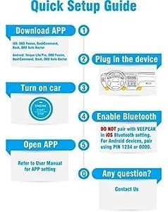 Veepeak OBDCheck BLE OBD2 Bluetooth Scanner Auto OBD II